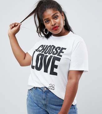 Asos Help Refugees Choose Love Curve t-shirt in white organic cotton