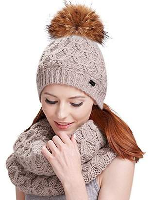 95b869a2885 at Amazon Canada · Womens Winter Pom Hat Set - Fur Ball Knit Beanie Hats  and Scarf For Girls FURTALK