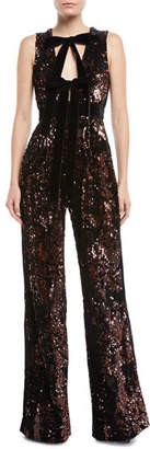 Elie Saab Sleeveless Wide-Leg Paillette Jumpsuit w/ Velvet Bow