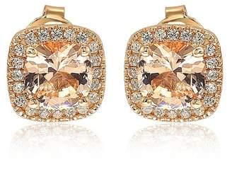 LeVian Suzy Jewelry Cushion Cut Morganite CZ Halo Stud Earrings