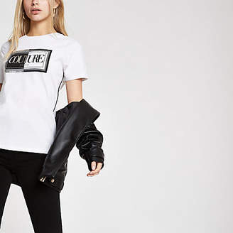 River Island Womens White 'Couture' flock print T-shirt