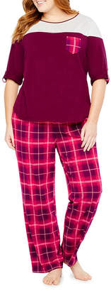 Liz Claiborne Colorblock.Pant Pajama Set-Plus