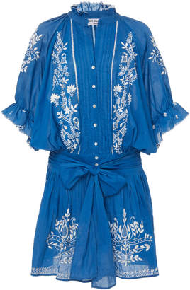 Juliet Dunn Belted Embroidered Cotton-Voile Mini Dress