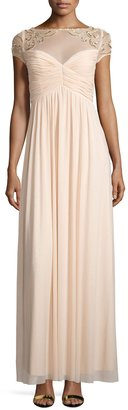 Marina Sequined Short-Sleeve Empire Gown, Champagne $139 thestylecure.com