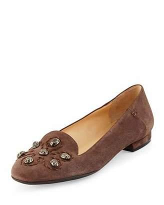 Sesto Meucci Kaya Stud Ornament Loafer, Dark Taupe $180 thestylecure.com