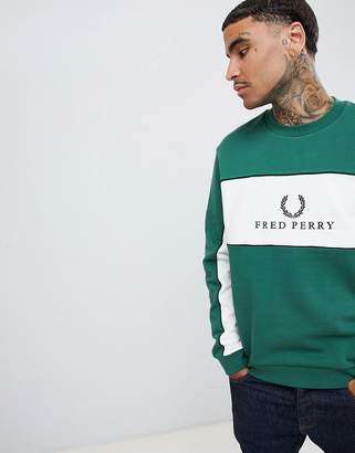 Fred Perry Sports Authentic 90s logo panel piped sweat in dark green