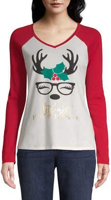 ST. JOHN'S BAY Long Sleeve V Neck Animal T-Shirt-Womens