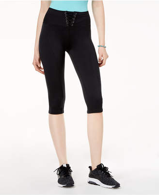 Material Girl Active Juniors' Lace-Up Cropped Leggings, Created for Macy's