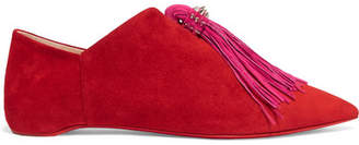 Christian Louboutin - Medinana Fringed Collapsible-heel Suede Slippers - Red $795 thestylecure.com