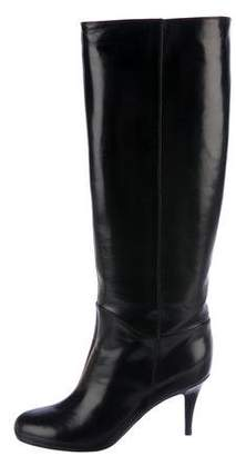 Sergio Rossi Leather Round-Toe Knee-High Boots w/ Tags