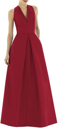 Alfred Sung V-Neck Dupioni Evening Gown