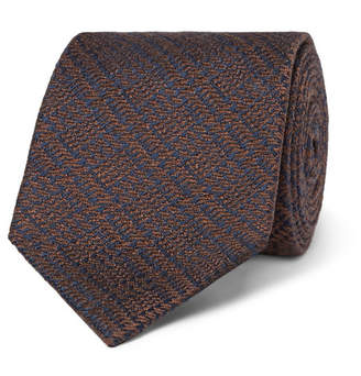 Charvet 7.5cm Prince Of Wales Checked Wool And Silk-Blend Jacquard Tie