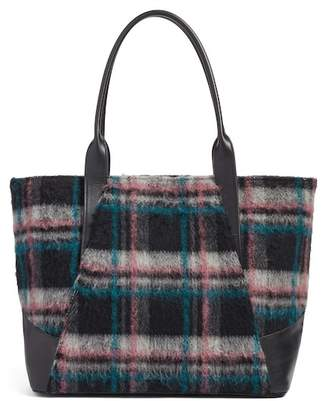 Treasure & Bond Ashton Plaid Wool & Leather Tote
