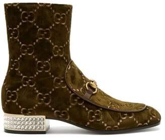 Gucci Mister Logo Jacquard Velvet Ankle Boots - Womens - Dark Green