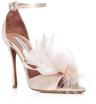 Tabitha Simmons Women's Satin & Feather High-Heel Sandals