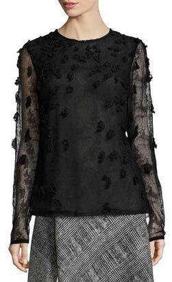 Jason Wu Embellished Crewneck Long-Sleeve Blouse, Black $2,195 thestylecure.com
