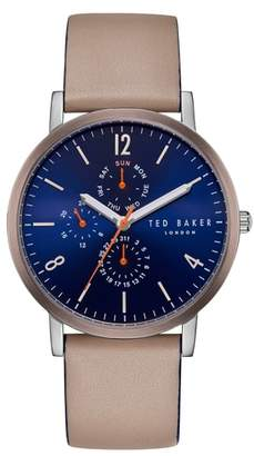 Ted Baker Graham Leather Strap Watch, 40mm