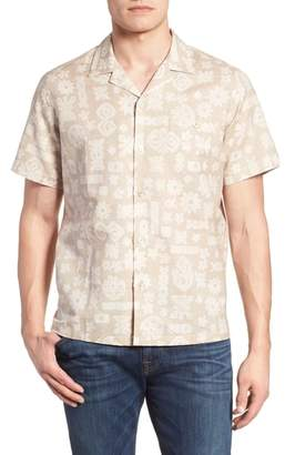 Tori Richard Tapa Twist Trim Fit Linen & Cotton Camp Shirt