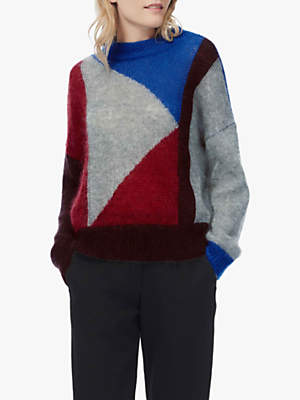 Colour Block Knit Jumper, Red/Cobalt/Silver