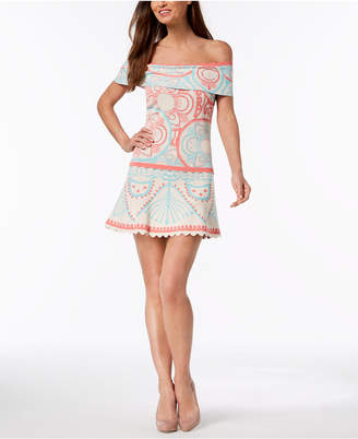 Foxiedox Off-The-Shoulder Printed Knit Dress