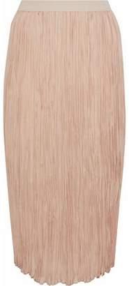 Agnona Plissé Silk Midi Skirt