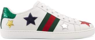 Gucci white Ace low-top leather sneakers