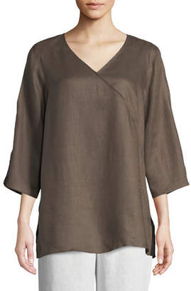 Caroline Rose Tissue Linen V-Neck Havana Top