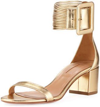 Aquazzura Casa Blanca Metallic Ankle-Cuff Sandal