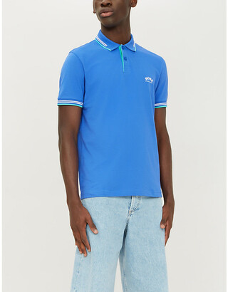 BOSS Logo-embroidered slim-fit cotton-pique polo shirt