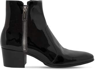 Balmain 55mm Zip Patent Leather Ankle Boots