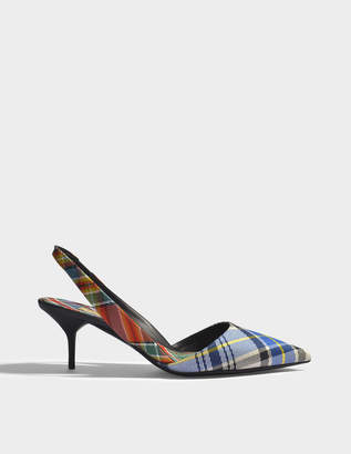 Burberry Annice Mid Height Tweed Slingback Pumps in Poppy Orange Cotton and Leather