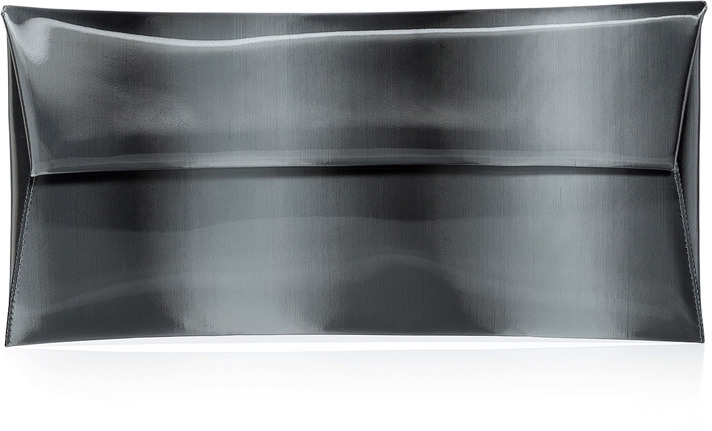 Jil Sander Charcoal Iridescent Envelope Clutch