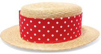 Miu Miu Grosgrain-trimmed Straw Boater - Red