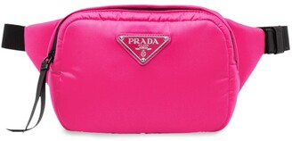 Prada logo plaque padded belt bag