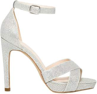 Le Château Women's Glitter Mesh Open Toe Platform Sandal
