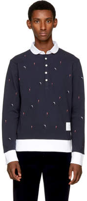 Thom Browne Navy Long Sleeve Skier and Flag Collection Polo