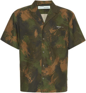 Off-White Camp-Collar Printed Cotton-Voile Shirt Size