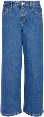 Dorothy Perkins Womens Blue Midwash Wide Crop Jeans
