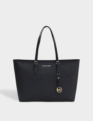 MICHAEL Michael Kors Jet Set Travel Medium Tz Multifunction Tote Bag in Black Saffia Leather