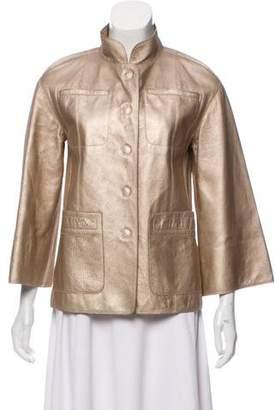 Marc Jacobs Leather Metallic Jacket