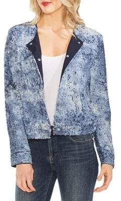 Vince Camuto Mystic Blooms Tie-Dye Sequin Bomber Jacket