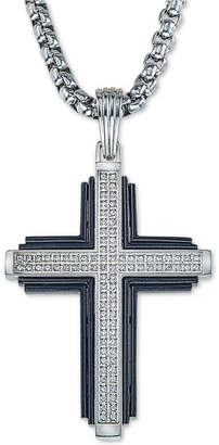 "Esquire Men's Jewelry Diamond Cross 22"" Pendant Necklace (1/3 ct. t.w.) in Stainless Steel & Black Ion-Plate"