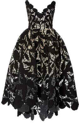 Oscar de la Renta Strapless V-Neck Faille And Bead Embroidered Dress