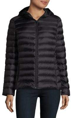 Lord & Taylor Design Lab Zip Front Hooded Puffer Jacket