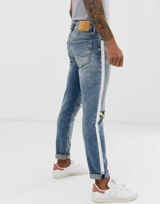 Jack and Jones Intelligence GLENN slim rip & repair jeans with taping