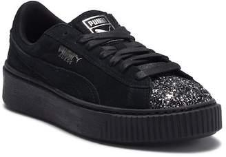 Puma Suede Platform Crushed Glitter Vamp Sneaker