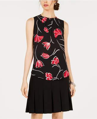 Nine West Floral Pleat-Neck Sleeveless Blouse
