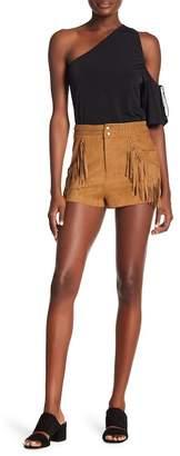 Show Me Your Mumu Calico Fringe Faux Suede Shorts