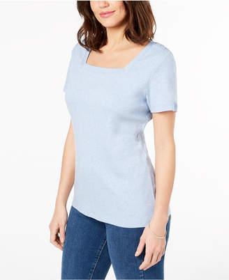 Karen Scott Petite Cotton Square-Neck Top, Created for Macy's