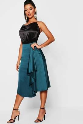 boohoo Waterfall Satin Midi Skirt